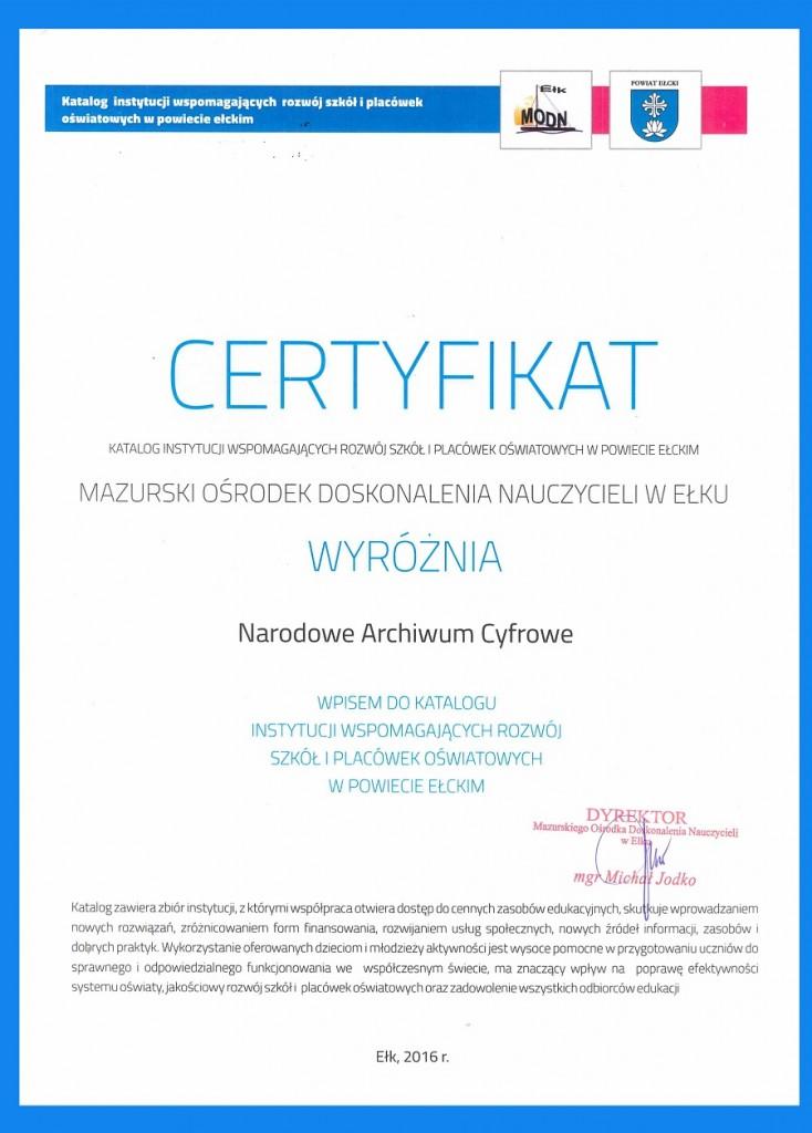 certyfikat bis