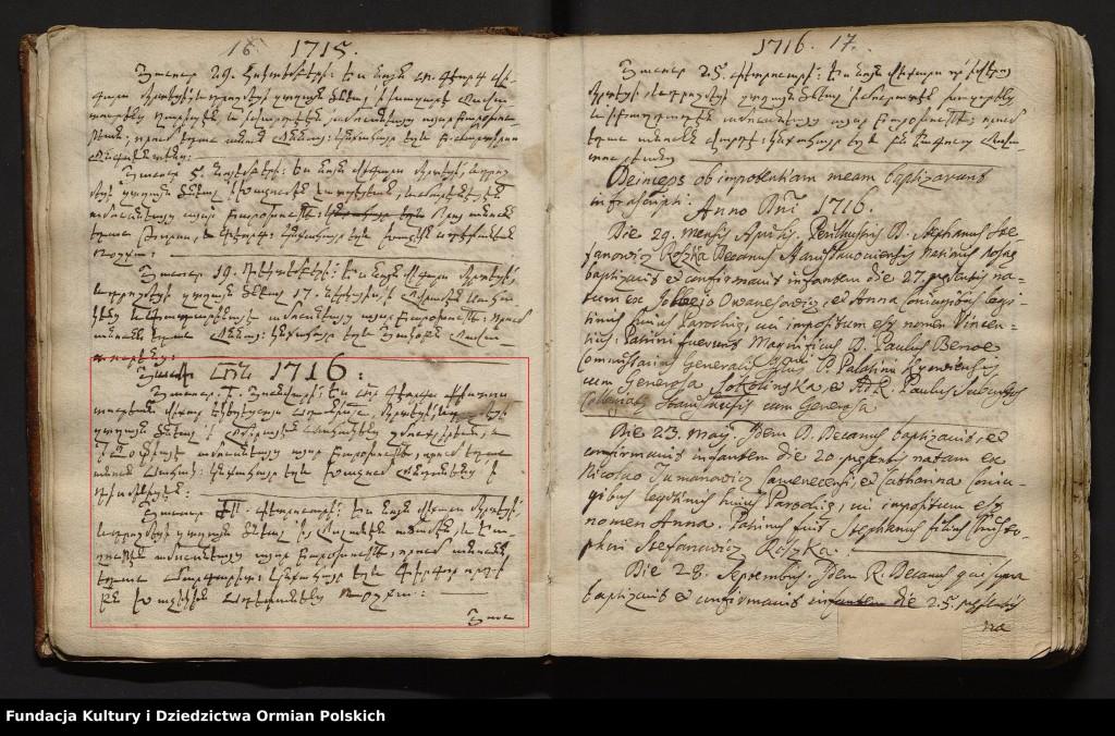 Większość wpisów do księgi zostało dokonane po łacinie, ale niektóre wpisy są w tzw. grabarze – starożytnej odmianie języka ormiańskiego.
