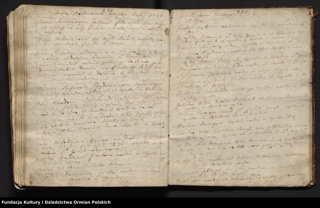 Ostatnie strony księgi zawierają wpisy tabella mortuorum tempore pestis z 1770 roku – zapisy zmarłych parafian najprawdopodobniej w czasie epidemii dżumy.