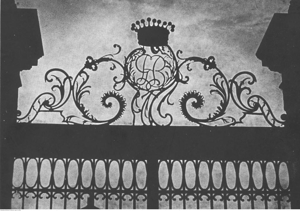Fragment bramy Pałacu Bruhla w Warszawie, 1942