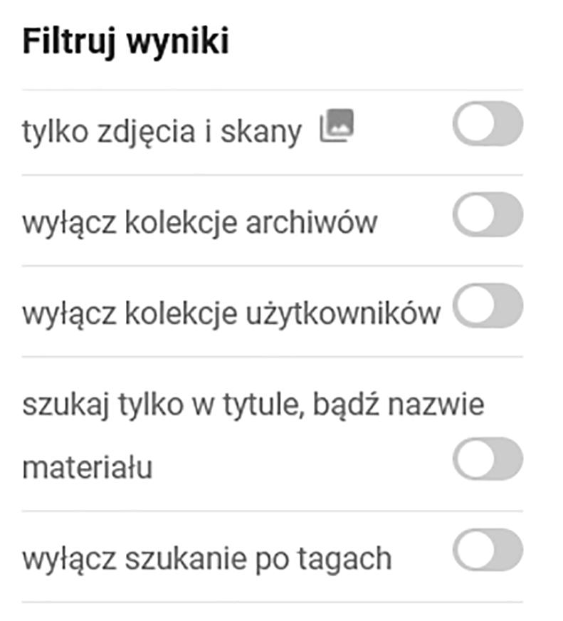 grafika przedstawiająca filtry wykluczające niektóre wyniki wyszukiwania