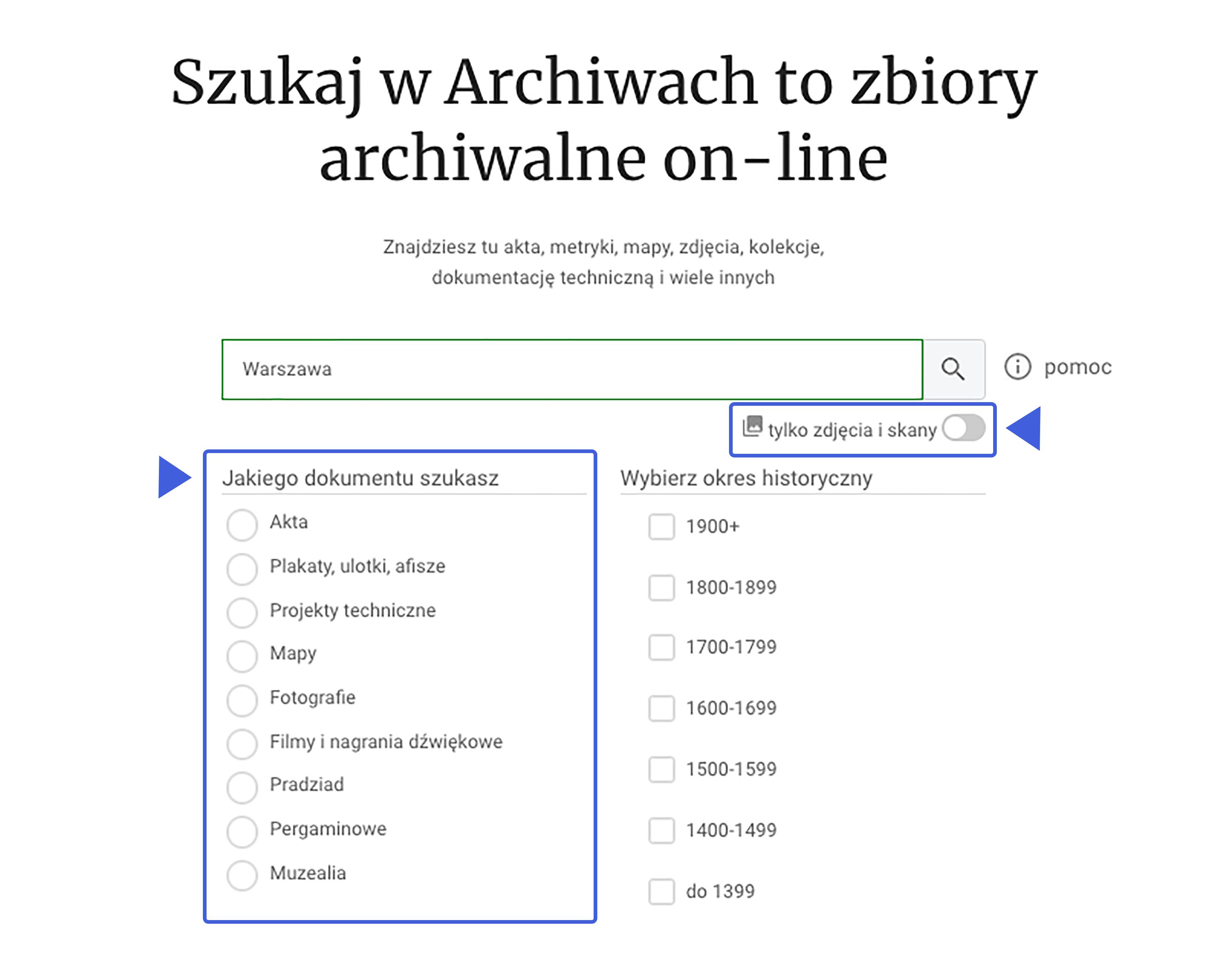 grafika przedstawiająca widok wyszukiwarki na stronie głównej wraz z podstawowymi filtrami